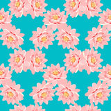 Безшовная картина пинк цветка лотоса на голубой предпосылке Стоковое Изображение