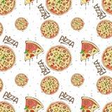 Безшовная картина пиццы и ингридиентов на белой предпосылке иллюстрация вектора