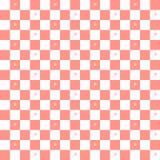 Безшовная картина плитки красного и белого квадрата с цветками Стоковые Изображения