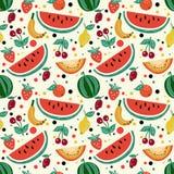 Безшовная картина плодоовощей, арбуз, дыня, клубника, вишня, слива, киви иллюстрация штока