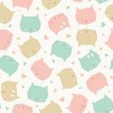 Безшовная картина повторения сладких сторон кота в пастельных цветах Идеал дизайна вектора детей и младенцев иллюстрация вектора