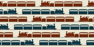 Безшовная картина поезда Стоковые Изображения RF