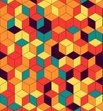Безшовная картина покрашенных кубов Бесконечная пестротканая кубическая предпосылка Картина куба Вектор куба Cube предпосылка абс стоковые изображения