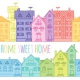 Безшовная картина покрашенных домов нарисованных вручную Стоковая Фотография
