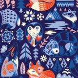 Безшовная картина полесья с декоративными животными Творческий скандинавский стиль иллюстрация штока