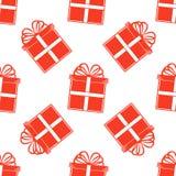 Безшовная картина подарка, красные подарочные коробки на белой предпосылке Стоковая Фотография