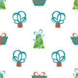 Безшовная картина подарочных коробок Стоковое Изображение