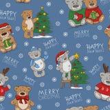 Безшовная картина праздника со смешными медведями игрушки бесплатная иллюстрация