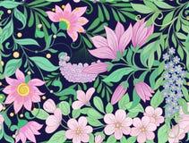 Безшовная картина, предпосылка с весной цветет магнолия, sak Стоковое фото RF