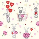 Безшовная картина, предпосылка Установите валентинку кролика с букетом цветков и воздушных шаров Стоковые Фотографии RF