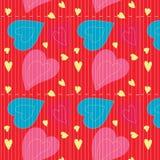 Безшовная картина, предпосылки, сердце дня валентинки Стоковые Изображения RF
