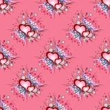 Безшовная картина предпосылки установленные сердца grunge Стоковое Фото