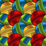 Безшовная картина предпосылки шариков пряжи Стоковая Фотография