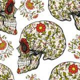 Безшовная картина, предпосылка с черепом сахара и флористическая скороговорка Стоковое Фото