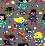 Безшовная картина предпосылки девушек супергероя в векторе Стоковые Изображения