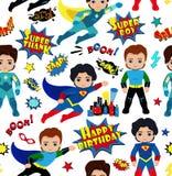 Безшовная картина предпосылки мальчиков супергероя Стоковые Фотографии RF