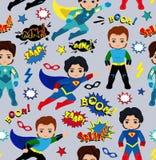 Безшовная картина предпосылки мальчиков супергероя Стоковая Фотография RF