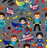 Безшовная картина предпосылки мальчиков супергероя Стоковое Изображение