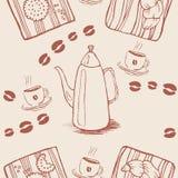 Безшовная картина предпосылки с кофейными зернами и Стоковые Фото