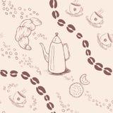 Безшовная картина предпосылки с кофейными зернами и Стоковые Фотографии RF