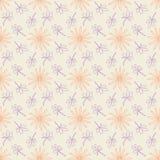 Безшовная картина предпосылки с повторять цветки и листья иллюстрация вектора