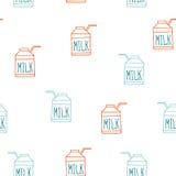 Безшовная картина предпосылки с стилем эскиза коробки молока милым Бесплатная Иллюстрация