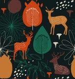 Безшовная картина природы с оленями солнечний свет дуба пущи конструкции граници предпосылки осени жолудей самый лучший оригинал  бесплатная иллюстрация