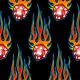 Безшовная картина при классический племенной график пламен и кости автомобиля мышцы hotrod изолированный на черной предпосылке иллюстрация вектора
