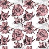 Безшовная картина при различные цветки и заводы нарисованные вручную Стоковое Фото
