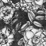 Безшовная картина при различные цветки и заводы нарисованные вручную Стоковая Фотография