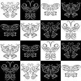 Безшовная картина при расположенные ступенями бабочки иллюстрация штока