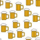 Безшовная картина простых абстрактных спиртных стекел стекла пива с ручками хмел-голового холодного вкусного пива значков пива дл бесплатная иллюстрация