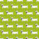 Безшовная картина - профиль собаки, трассировка лапки изолированная на зеленой предпосылке иллюстрация штока