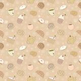 Безшовная картина продуктов хлебопекарни Стоковая Фотография RF