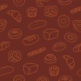 Безшовная картина продуктов хлебопекарни иллюстрация вектора