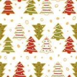 Безшовная картина пряника в форме рождественских елок иллюстрация штока