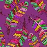 Безшовная картина племенных богато украшенных пер птицы иллюстрация вектора