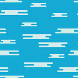 Безшовная картина плоских белых облаков на голубой предпосылке Стоковая Фотография
