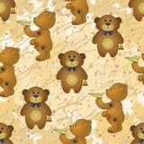 Безшовная картина, плюшевые медвежоата с игрушками Стоковое Фото