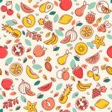 Безшовная картина различных плодов вектора Предпосылка с иллюстрациями цвета много плодов иллюстрация вектора