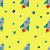Безшовная картина Ракеты и звезд Стоковые Фотографии RF