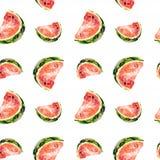 Безшовная картина растра Куски арбуза с семенами на белизне Стоковое Изображение