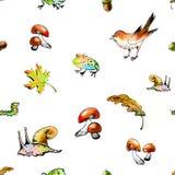 Безшовная картина растра с животными и листьями леса Стоковые Фото