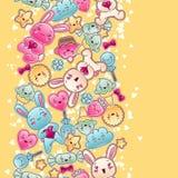 Безшовная картина ребенка kawaii с милыми doodles бесплатная иллюстрация