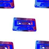 Безшовная картина - ретро магнитофонная кассета акварели Стоковое Изображение RF