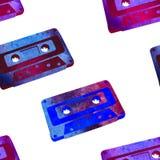 Безшовная картина - ретро магнитофонная кассета акварели Стоковое Изображение