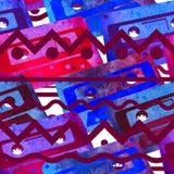Безшовная картина - ретро магнитофонная кассета акварели Стоковые Изображения RF