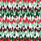 Безшовная картина рождества вектора с нашивками и деревьями иллюстрация штока