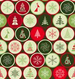 Безшовная картина рождества в ретро стиле Скандинавский тип иллюстрация вектора