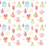 Безшовная картина рождества на белой предпосылке иллюстрация штока
